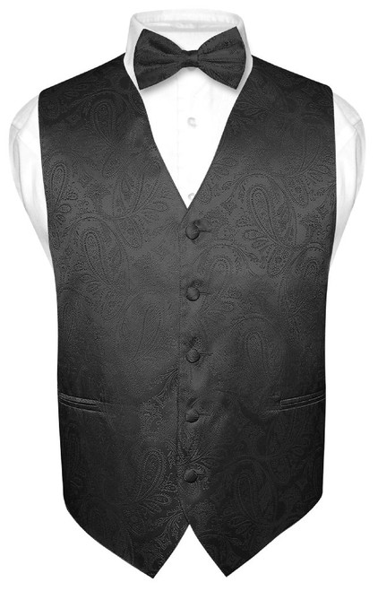 Black Paisley Bow Tie And Black Paisley Tuxedo Vest Set For Men