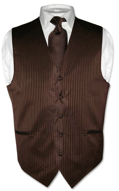 Mens Dress Vest & NeckTie Chocolate Brown Color Striped Neck Tie Set
