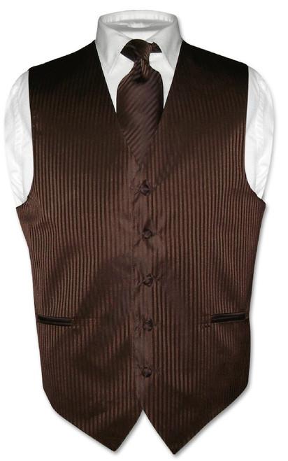 Mens Dress Vest & NeckTie Chocolate Brown Color Striped Neck Tie Set