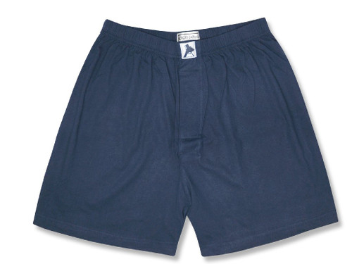 100% Knit Cotton Boxer Shorts | Biagio Mens Solid Navy Blue Boxers