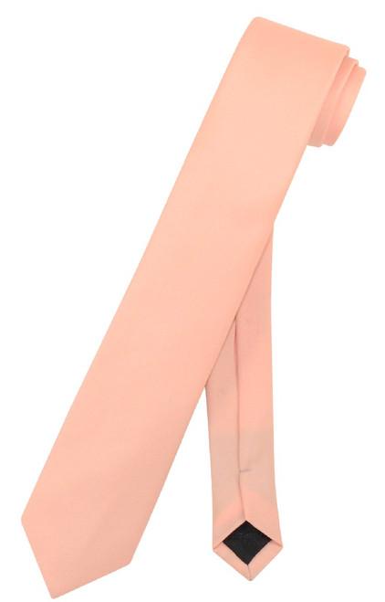 Vesuvio Napoli Narrow NeckTie Skinny Peach Color Mens Thin Neck Tie