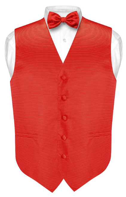 Mens Dress Vest BowTie Red Horizontal Stripe Bow Tie Woven Design Set