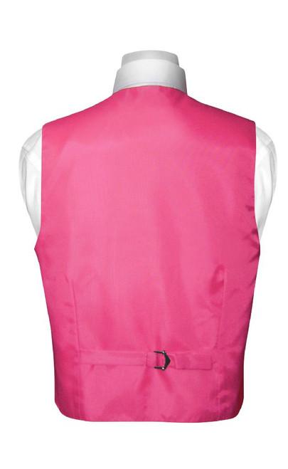 Boys Dress Vest NeckTie Solid Hot Pink Fuchsia Color Neck Tie Set