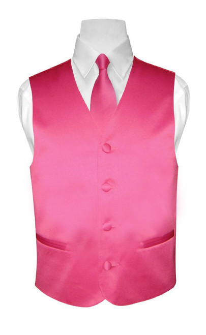 Boys Dress Vest NeckTie Solid Hot Pink Fuchsia Color Neck Tie Set
