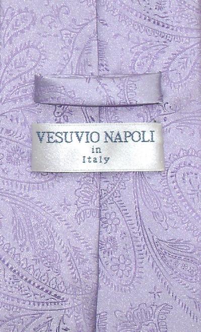 Vesuvio Napoli NeckTie Lavender Purple Paisley Design Mens Neck Tie