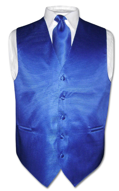 Mens Dress Vest NeckTie Royal Blue Neck Tie Horizontal Stripe Set