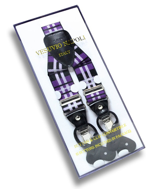 Mens Plaid Design Black Purple White Suspenders Y Shape Buttons Clips
