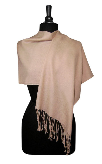 Light Brown Pashmina | Biagio 100% Wool Pashmina Scarf