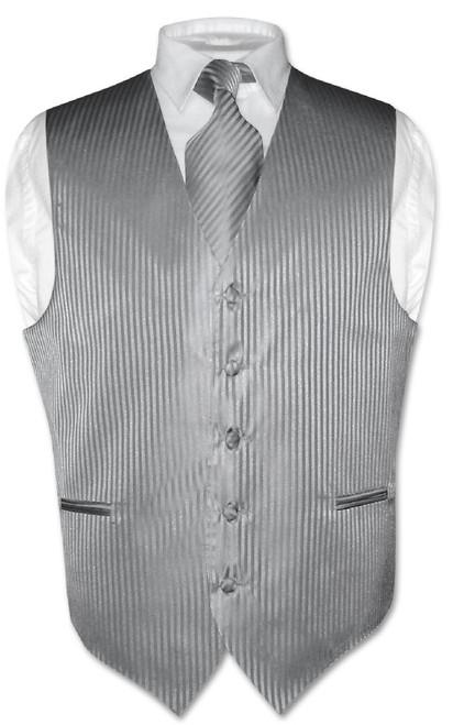 Mens Dress Vest NeckTie Silver Grey Vertical Striped Gray Neck Tie Set