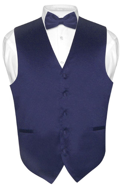 Mens Dress Vest & BowTie Solid Navy Blue Color Bow Tie Set