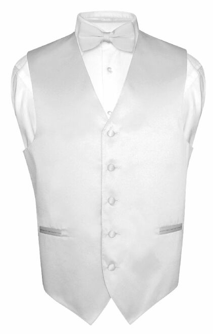 Mens Dress Vest & BowTie Solid Silver Gray Color Bow Tie Set