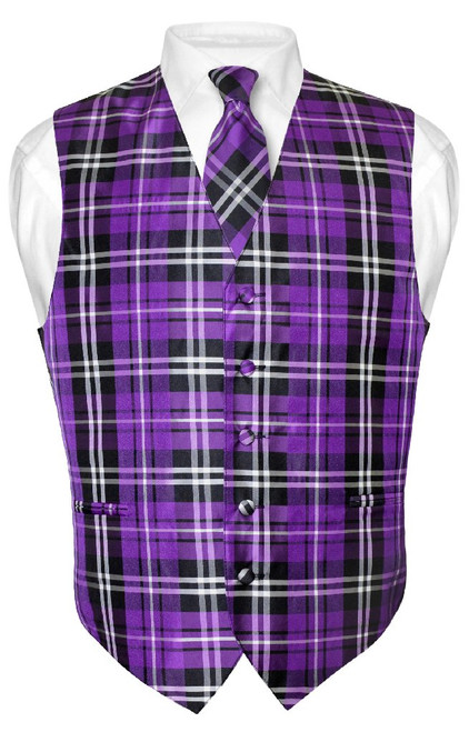 Mens Plaid Design Dress Vest & NeckTie Purple Black White Neck Tie Set