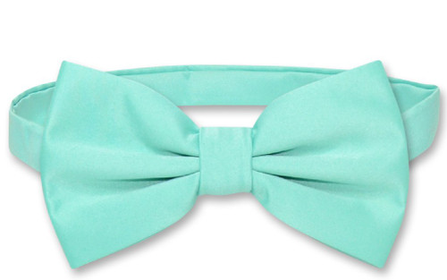 Vesuvio Napoli BowTie Solid Aqua Green Color Mens Bow Tie