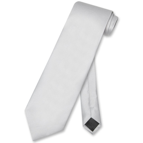Silver Gray Mens NeckTie | Vesuvio Napoli Solid Color Mens Neck Tie