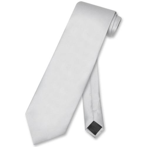 Silver Gray Mens NeckTie | Vesuvio Napoli Solid Color Mens Neck Tie