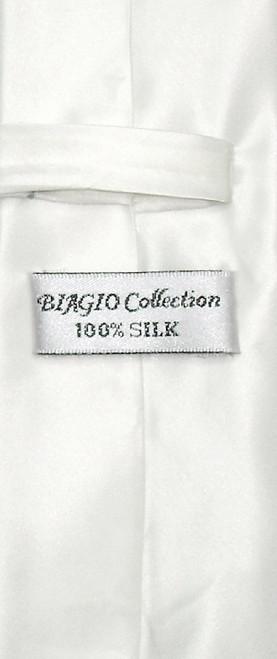 Biagio 100% Silk Narrow NeckTie Skinny Off-White Color Mens Neck Tie