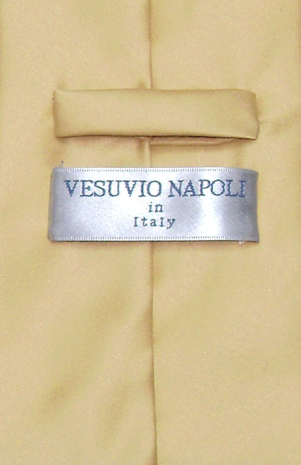 Gold Color Mens NeckTie   Vesuvio Napoli Solid Color Mens Neck Tie