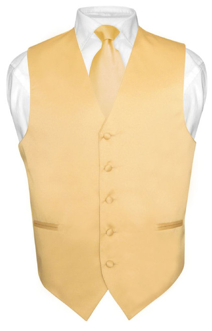 Mens Dress Vest & NeckTie Solid Gold Color Neck Tie Set