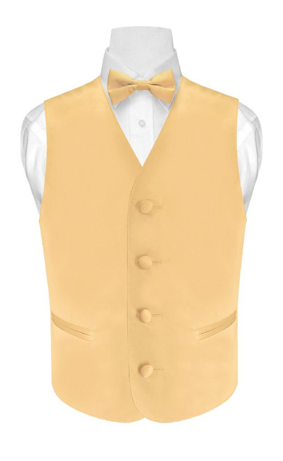 Boys Dress Vest Bow Tie Solid Gold Color BowTie Set