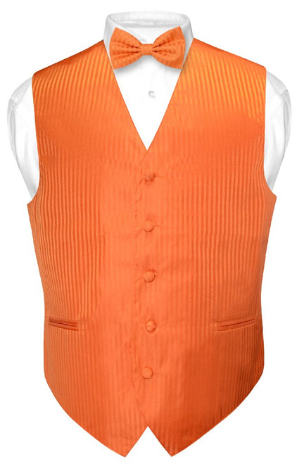 Mens Dress Vest BowTie Orange Color Vertical Striped Bow Tie Set