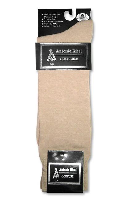 Beige Color Mens Dress Socks | 1 Pair of Antonio Ricci Cotton Socks