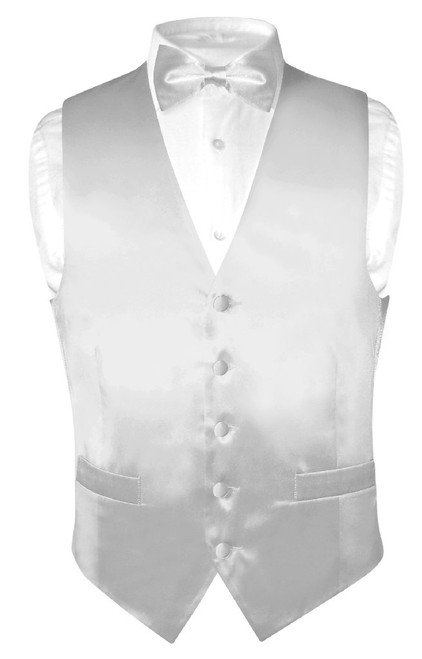 Silver Grey Vest and Bow Tie | Silk Solid Color Vest BowTie Set