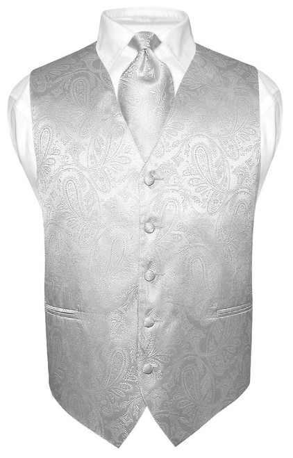 Silver Vest | Mens Paisley Design Dress Vest & Neck Tie