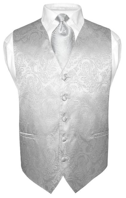 Silver Vest | Mens Paisley Design Dress Vest & Neck Tie