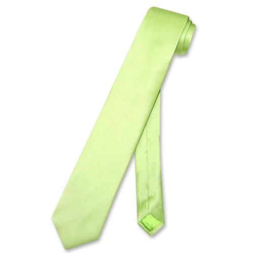 Biagio 100% Silk Narrow NeckTie Skinny Lime Green Color Mens Neck Tie