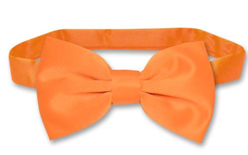 Solid Orange Tie   Mens Orange Vest and Bow Tie Set