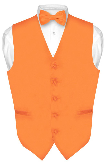 Solid Orange Tie | Mens Orange Vest and Bow Tie Set