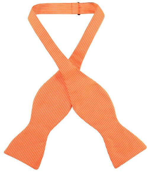 Antonio Ricci Self Tie Bow Tie Solid Burnt Orange Ribbed Mens BowTie