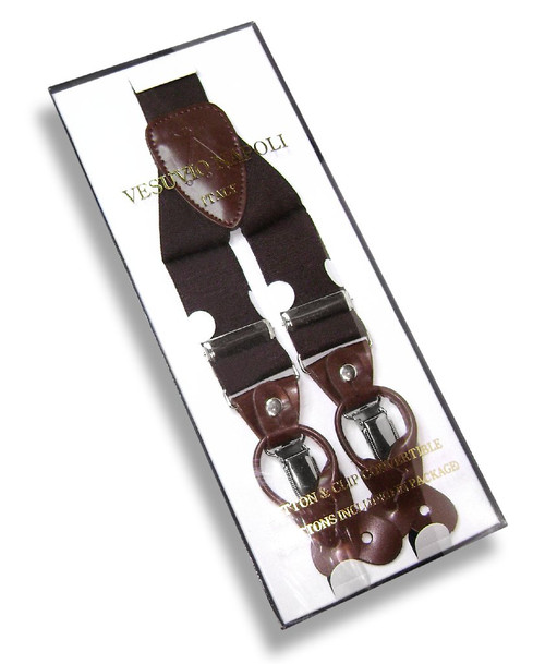 Mens Brown Suspenders Y Shape Back Elastic Button & Clip Convertible