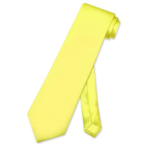 Biagio 100% Silk NeckTie Extra Long Solid Yellow Mens XL Neck Tie