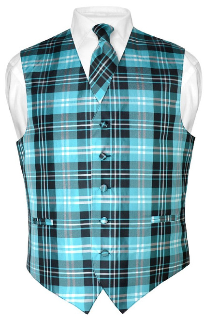 Mens Plaid Design Dress Vest NeckTie Black Turquoise White Tie Set