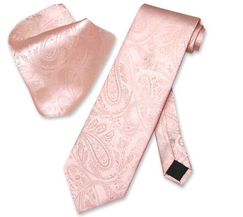Vesuvio Napoli Peach Paisley NeckTie & Handkerchief Mens Neck Tie Set