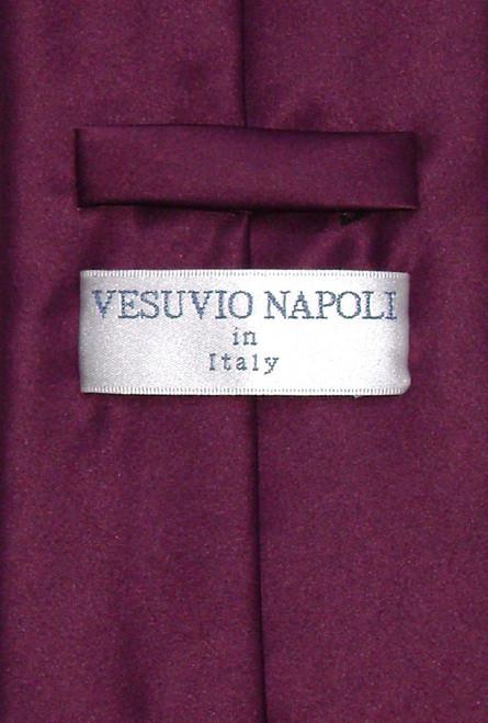 Vesuvio Napoli Solid Eggplant Purple NeckTie Handkerchief Mens Tie Set