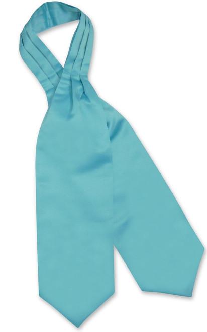 Turquoise Blue Cravat Tie | Vesuvio Napoli Mens Solid Color Ascot Tie