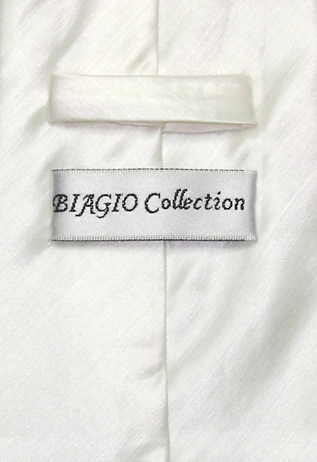 Biagio Mens Off-White Bamboo Silk Dress Vest Neck Tie Set sz Small