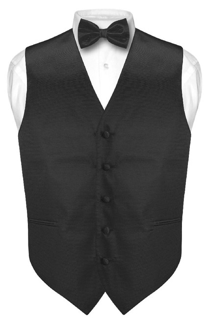 Mens Dress Vest BowTie Black Woven Bow Tie Horizontal Striped Set
