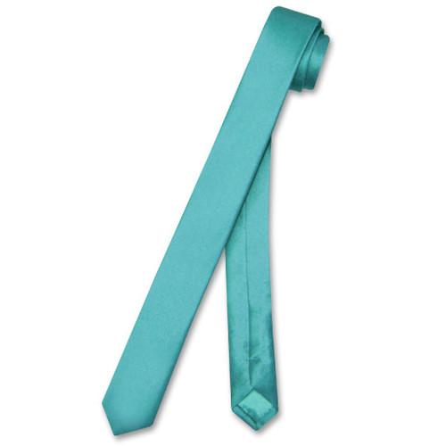 Biagio Silk Narrow NeckTie Extra Skinny Turquoise Blue Mens Neck Tie