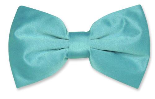 Vesuvio Napoli BowTie Solid Turquoise Blue Color Mens Bow Tie