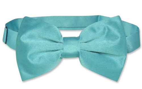 Vesuvio Napoli BowTie Solid Turquoise Blue Color Mens Bow Tie