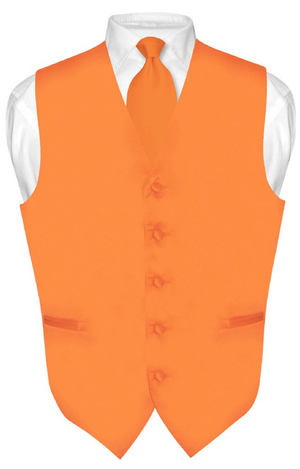 Solid Orange Tie | Orange Vest And Neck Tie Set