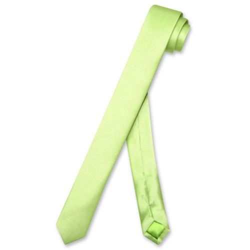 Biagio 100% Silk Narrow NeckTie Extra Skinny Lime Green Mens Neck Tie