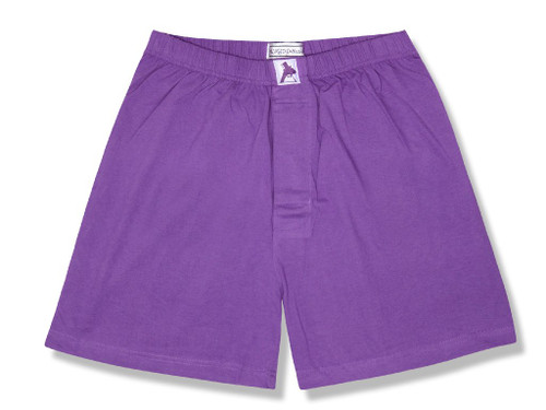 100% Knit Cotton Boxer Shorts | Biagio Mens Purple Indigo Boxers