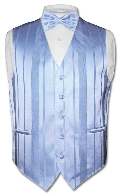 Mens Dress Vest BowTie Baby Blue Color Woven Striped Bow Tie Set