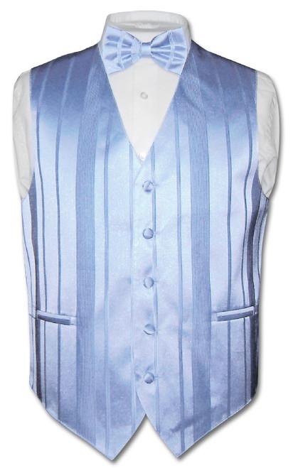 Mens Dress Vest BowTie Baby Blue Color Woven Striped Bow Tie Set