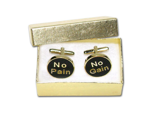 No Pain No Gain Cufflinks | Mens Gold Tone Cufflinks