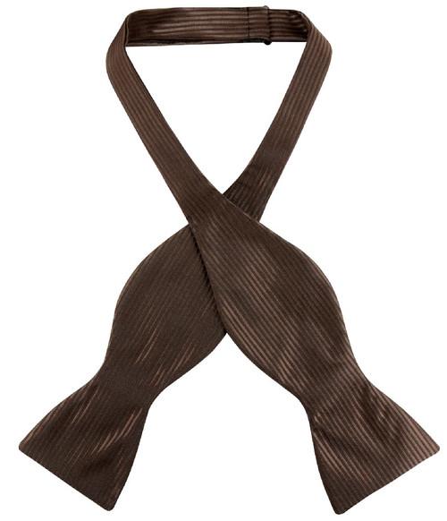Antonio Ricci Self Tie Bow Tie Chocolate Brown Ribbed Mens BowTie